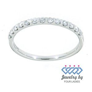 Real Diamond Stackable Wedding Band 14K White Gold